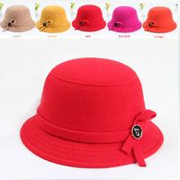Korean children hat baby  wool hat bucket hats for girls princess bow winter felt hat  008