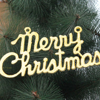 19.5 cm * 10 cm Merry Christmas English letters Christmas Tree Ornaments Decorations Accessories Supplies