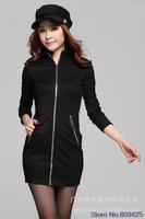 2014 new winter Hot women's long sleeve Slim thin package hip dress zipper