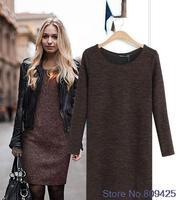 Plus Size Long Sleeve Knitted Winter Dresses Slim O-neck Package Hip Woolen Coffee Black Casual Dress Women Bodycon Dress