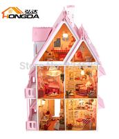 Free Shipping DIY Model Assemble Villa Doll Home/ Sunshine Alice Doll House Mini Wooden Toy Miniature Dollhouse casa de boneca