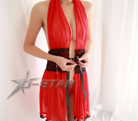 Free Shipping Lady Sexy Lingerie Costumes Pajamas for Women Kimono with Lace Front Open Lacing High Quality Female Sleepwear Red