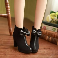 Elengant retro bowtie Autumn and winter high heeled party knight club black chunky ankle boots 39 free shipping