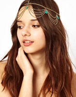 Indian Belly Dance Hippie Hair Cuff Chain Tassel  headwear Accessories Flower Turquoise Pendant Princess Gold Hair Rinnons