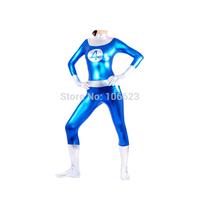 Blue White Shiny Metallic Zentai Supergirl Catsuit Costume Superhero Costume Party Costume Halloween Costume