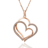 New Fashion  Double Heart Shining Crystal Rose Gold Plated Necklace Pendant  For Women