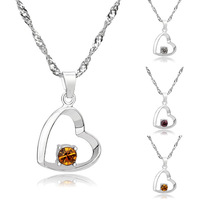 [Arinna Jewelry] Fashion crystal 18k gold plated heart necklace multi color choose necklace,Nickle free antiallergic N1688