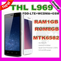 "Original FDD-LTE 4G THL L969 Mobile phone MTK6582 Quad Core RAM1GB+8G 5.0""IPS 5.0MP 2700mAh with flip leather case android 4.4"