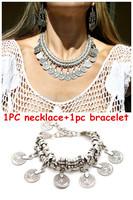1set  Hot New Fashion vintage silver Plated Alloy coin metal statement bracelet Necklace Set Festival Turkish Brazilian jewelry