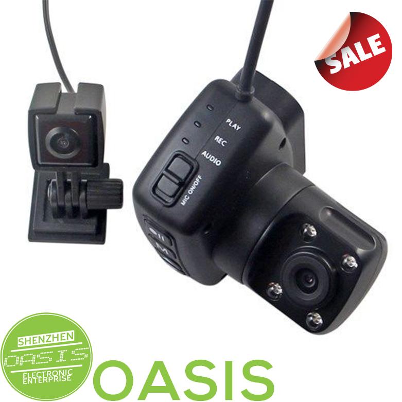 Dual Lens 240 degree Rotation 720P Car DVR Video Camera Camcorder Audio Recorder(China (Mainland))