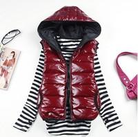 Plus size L-XXXXL Women down cotton coats fashion autumn and winter leisure Hooded thickening women vest 2014 NEW Q174