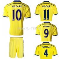 #15 DROGBA jersey #4 FABREGAS uniforms 10 HAZARD football jersey #11 OSCAR kits #19 DIEGO COSTA sportswear yellow 2014-15