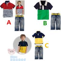 Boys short-sleeved T + denim trousers piece suit 2014 summer new boy suit children's clothing   K6042