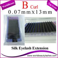 10trays/Lot 0.07mm super thin Thickness B Curl 13mm Korean Silk Eyelash Extensions