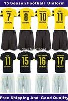 20 sets/lot,15 season fans version football jerseys and shorts,soccer uniform,t-shirt,free shipping,Customed name and number