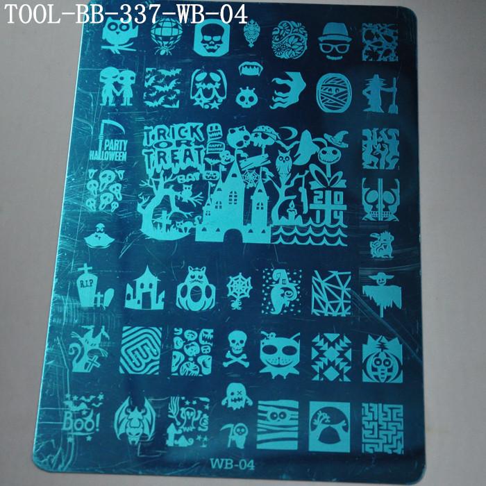 Manicure Tool Metal Halloween Series Stamping Image Print Plate Nail Art Template Plates(China (Mainland))
