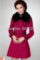 2014 woolen overcoat female medium-long slim double breasted woolen cloth outerwear