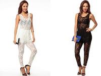 New 2014 Fashion Lady Crochet Lace Jumpsuit E6633 White/Black Lace Jumpsuit Slim Vest Harem Pants Jumpsuits & Rompers For Women