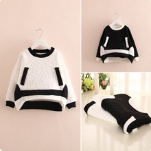 New 2015 Korean Style Fashion Girl Hoodies Pure Cotton Kids Sweatshirt With Pocket Dobby Black&White Pullover(China (Mainland))