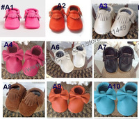 Toddler/infant solid colour fringe shoes prewalker Various of Genuine leather baby tassel moccasins soft sole moccs booties07