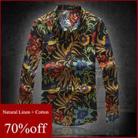 8 Colors M-6XL Plus Size Natural Linen Men Shirts Japanese National Men's Flowers Floral Shirt Printed Long Sleeve shirts AHZ850
