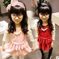 The 2014 girls new solid sleeveless small vest + Korean skirtsGW052