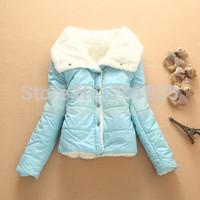 new 2014 outerwear women cotton-padded jacket short wadded jacket winter women outerwear thick coat hood parka