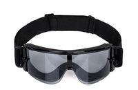3 Lens  Airsoft X800 Tactical Goggle Glasses GX1000 Black