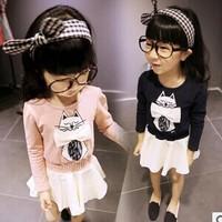 Korean girls dress cartoon cat splicing sleeve bottom dress printingGW081