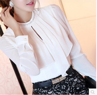 New arrival fashion blusas Long sleeve o-neck Women blouse Chiffon White shirt Work wear blusas femininas 2014