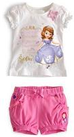 Wholesale Baby cartoon Girls clothing sets girl's  Bow flower sets short-sleeve t-shirts+short kids clothing sets 5pcs/lot