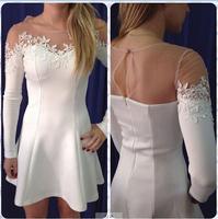 2014 Women White/Black  black lace Patchwork  long sleeve mini dress women Novelty  vestido