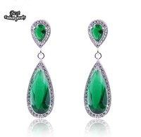 Green Rhinestone CZ Drop Earring Emerald Crystal Dangle Earring Water Drop ZC067ER