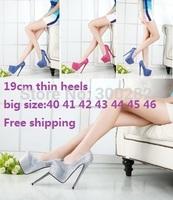 Sale 2014 spring/autumn 19/20cm ultra high heels sexy diamond women's wedding shoes cosplay red bottom pumps big size:40-45 46