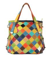 2014 women bag fashion women handbag color patchwork plaid bag shoulder bag genuine leather handbag large capacity free shipping