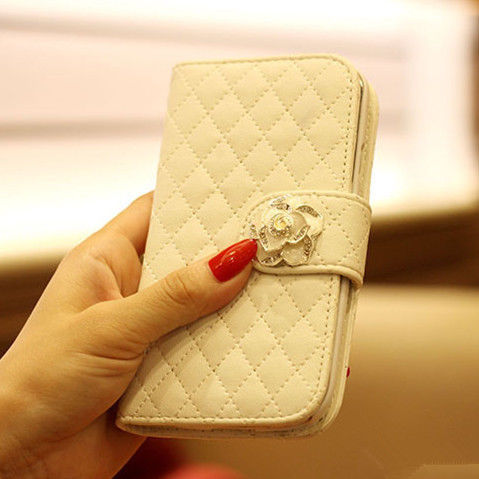 White Leather Bling Diamond Wallet Mobile Phone Case for Apple Phones iphone 4 4s(China (Mainland))