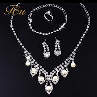 2014 Latest Fashion Claw Chain with Pearl Jewelry Set 4pcs Wedding Jewelry Set  #2082