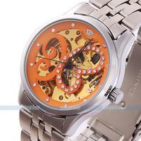 2014 HOT Silver Stainless Steel Skeleton butterfly rhinestones Women Mechanical Wrist Watch