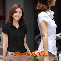 Plus Size 5XL Blusas Femininas 2014 Lotus Sleeve OL Shirts Women White Chiffon Blouses Casual Slim Buttons Lapel Camisas