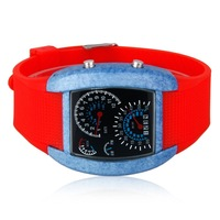 2014 New Fashion Women's Casual Wristwatch Digital Sports Car Meter Dial Ceramics LED Watch 8 colors Band Free Shipping