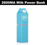 Wholesale Milk External Battery Pack 2600MA Power Bank Portable Charger Powerbank 250PCS/lot