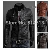 2014 new men's leather jacket Korean catwalks shall Slim leather jacket PU high quality 3 color 4 size hot sale