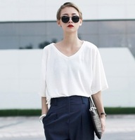 Women Cotton White T shirt Loose Roupas blusas femininas 2014 Casual High Street Blouse camisetas Rock roupas Tees blusa Tops