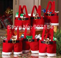 20 pcs/lots wedding holiday Candy Bags Free shipping new christmas gift Bags Hot Selling 17*16cm 2014 Santa Pants Candy Bags