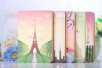 Cartoon Painting Flower Eiffel Tower Folio Leather Case For ipad mini retina Smart Stand Cover For apple iPad mini mini2 +film