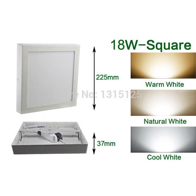 12pcs+Free shipping 18W Square Mounted Panel White LED Kitchen Light Warm/ Natural/ Cool White Square LED Panel Light AC85-265V(China (Mainland))