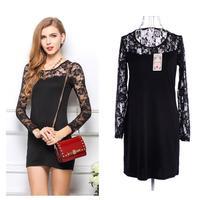 2014 Autumn New Women Dress Winter Fashion Lace Long Sleeve Ladise Casual Dresses Black XXL XXXL 1394 Free Shipping