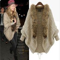 Fashion NEW Winter Warm Coats Womens Fur Collar 2015  fashion Bat Sleeve Cardigan Sweater Jackets