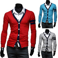2014 New Fashion Stylish Men Casual V-Neck Slim Fit Tops Cardigan Sweater Winter Autumn Outerwear 3 Color 3 Sizes