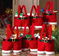 20pcs/lot Free shipping Christmas Supplies Gift Bags Holiday New Year Candy Bag Wine Bag Santa Claus' Suspender Trousers Bags